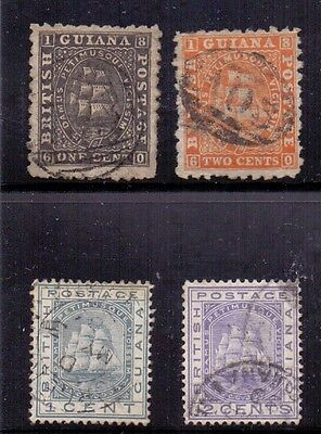 British Guiana. 4 used stamps. 1866/1882. SG 85, 87, 131. 170