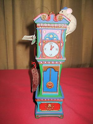 Vintage Rare Dept 56 Mother Goose Christmas Ornament Mouse Hickory Dickory Dock