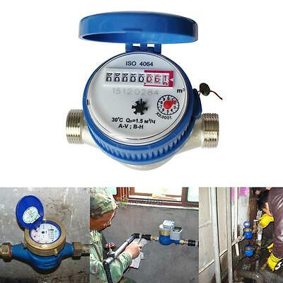 """15mm 1/2"""" Home and Garden Water Flow Measuring Meter Copper Cold Dry Counter Hot"""