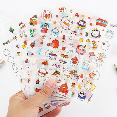 6 Sheets Kawaii Cartoon Rabbit Paper Sticker for Scrapbooking Diary Decor PVC