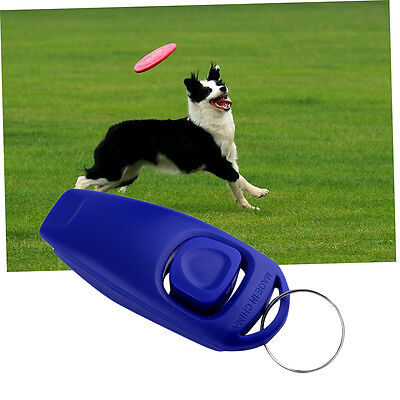 Dog Puppy Training Clicker Trainer Pet Click & Whistle Agility Keyring &F