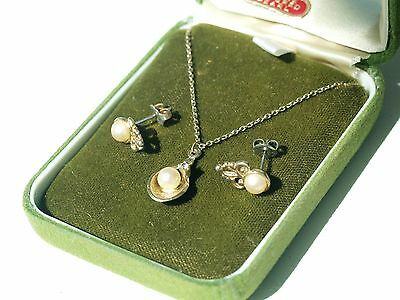 Pearl Earrings & Necklace set - Boxed