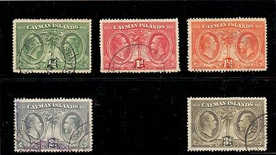 Cayman Islands. 5 used Commemorative stamps. 1932. SG 85, 86, 87, 88, 90