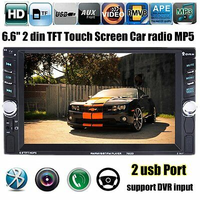 """Double 2 DIN In Dash Car 6.6""""  MP5 Player Stereo FM Radio Bluetooth USB AUX"""