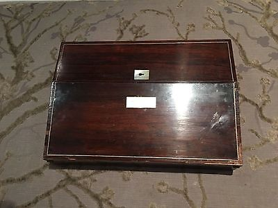 antique regency rosewood writing box slope, mother of pearl