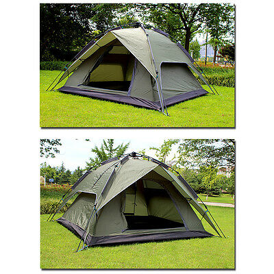 4-6 Person Green Double layer Waterproof Family Camping Hiking Instant Tent AU