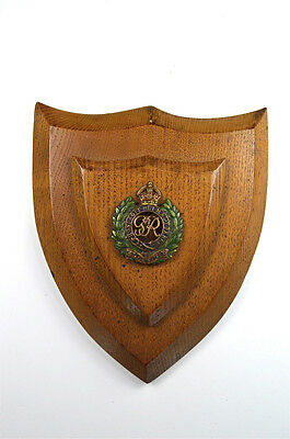 Antique oak shield wall plaque with brass Royal Engineers emblem crest arms 1
