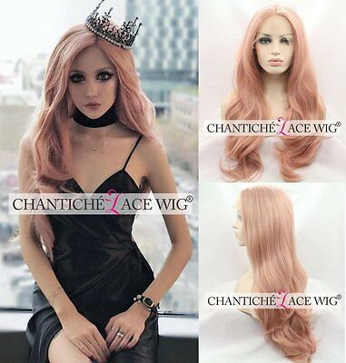 Women's Lace Front Synthetic Hair Pink Wig Natural Long Wavy Wigs UK Heat Good