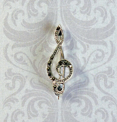 musical cleft sterling 925 silver and marcasite brooch pin