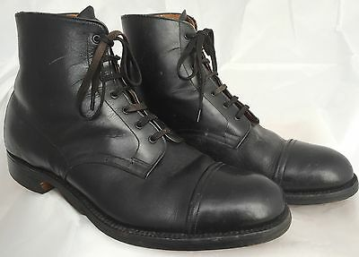 Vintage 1940s Men's Black Leather Ankle Boots CWS 1930s WW2 Cc41 Style workwear