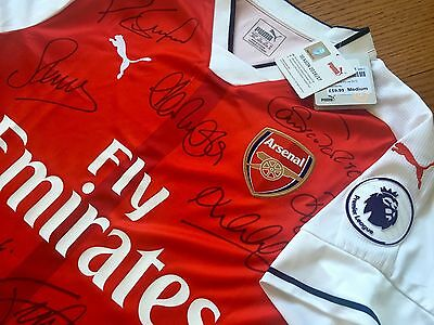 Full Team Signed Arsenal 2016/17 Home Shirt ~ Genuine Autographs and COA