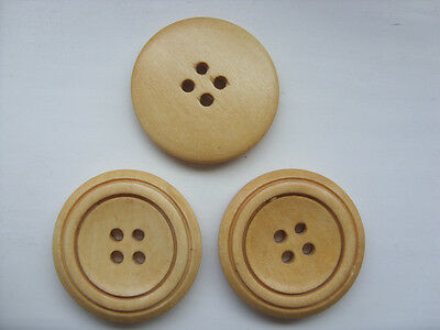 10 pcs Large Natural  Wood  Scrapbooking // Sewing Buttons   30mm