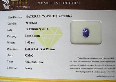 Brillante  Tanzanite  Naturale Intrattata Certificato Gemmologi Ct. 1,60  Si  Vs