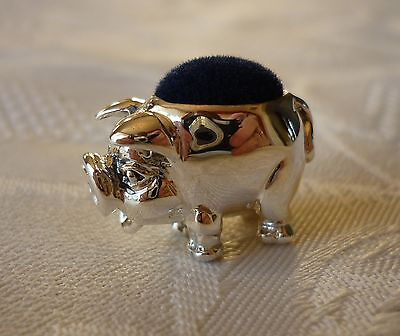 Solid sterling silver tiny miniature PIG PIN CUSHION with squat nose (blue)
