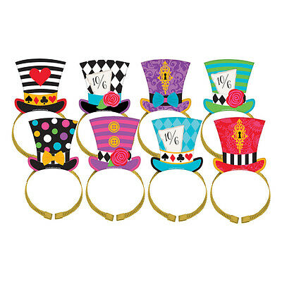 Alice In Wonderland Theme Mad Tea Party Top Hat Headbands 8 Pack Decoration