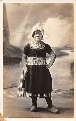 Marken-Holland-Netherlands-Young Girl Traditional Costume~Real Photo Postcard