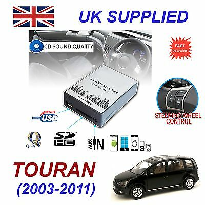 VW TOURAN 03-11 MP3 SD USB CD AUX Input Audio Adapter Digital CD Changer Module