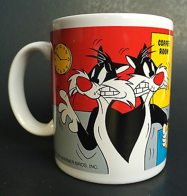 "Warner Bros 1991 Sylvester & Tweety Mug Cup ""Did I Make The Coffee Too Stwong?"""
