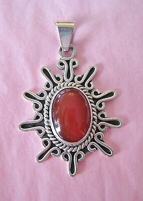 Mexican Sterling Silver Pendant .925 with Red Jasper Stone Oval Pendant