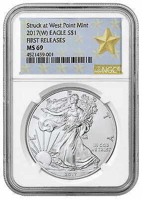 2017-(W) Silver Eagle Struck at West Point Mint NGC MS69 FR Star Label SKU45212