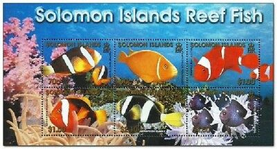 Solomon Islands -  2001 - Reef fish - Miniature sheet of 6 stamps - MNH