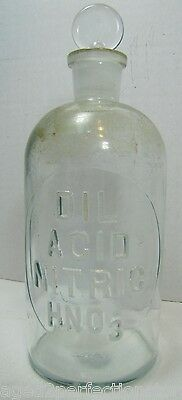 Antique Embossed Glass Acid Poison Bottle Dil Acid Nitric hno3 Apothecary Lab