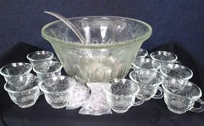 Vtg Indiana Princess Clear Glass Punch Bowl W/12 Cups & Ladle