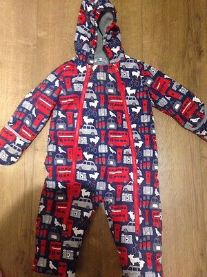 Gorgeous Warm Baby Boys Boden Fleece Lined Snowsuit With Mitts 18-24 Months