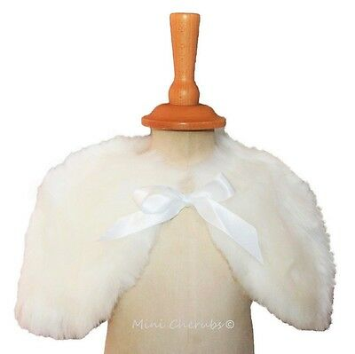 Baby Girl Off White Faux Fur Shrug Cape Christening Occasion Flower Girl Wedding