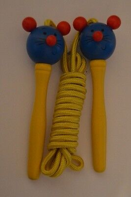 Childrens wooden skipping rope - Mouse - Blue & Yellow
