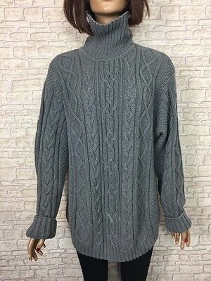 ❤️ VINTAGE JUMPER Unisex Chunky Grey Roll Neck Cable 80/90's Oversize Blogger