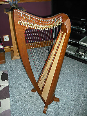 EMS Round Back Celtic Harp 22 Strings With Semitone Levers Solid Rosewood