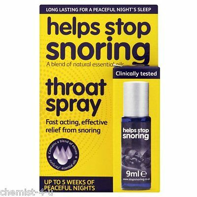 Help Stop Snoring Throat Spray Fast Activing Relief from Snoring 9ml