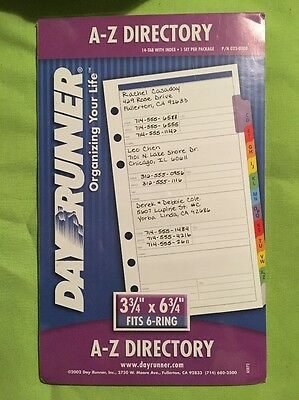 Day Runner New A-Z Directory 3.75 X6.75 Refill 023-0200-41 Phone Address
