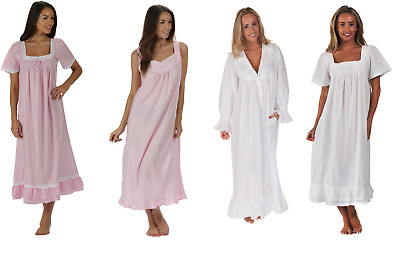 Womens 100% cotton nightdress 6 Designs Victorian Vintage Style Ladies Nightie