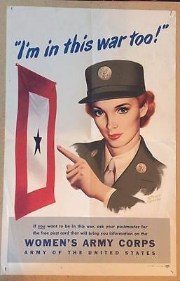 WWII Original US WAC Women Army Corps poster 1944
