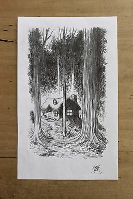 Fantasy game **ORIGINAL ART**  pencil drawing of a FOREST COTTAGE