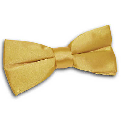 Mens Bow Tie Satin Plain Solid Gold Formal Wedding Adjustable Pretied by DQT