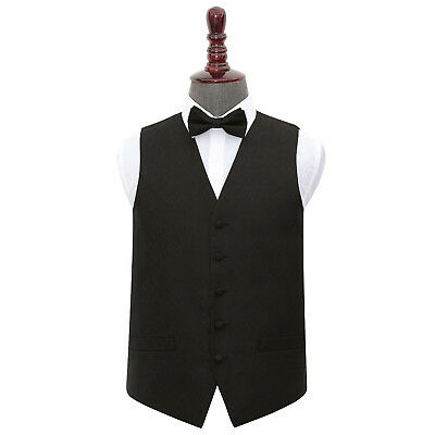 New Dqt Paisley Mens Wedding Waistcoat & Bow Tie Set - Black
