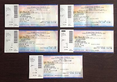 **fifa Club World Cup Japan 2016 Used Collector Tickets Full Set, All 5 Games