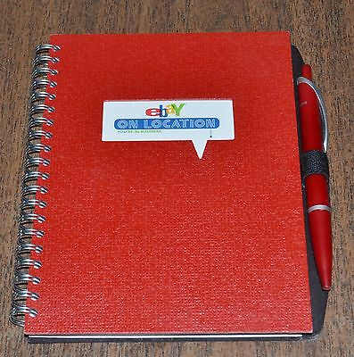 EBAY ON LOCATION NEW Red 5x7 Spiral Blank Journal Notepad w/ Pen Ebayana Unused