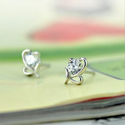 Lovely New Crystal Small HOT Fashion Stud Earrings Heart Shape Silver Plated