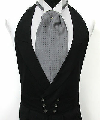 Black Double Breasted Open Back Vest & Ascot Morning Dress Wedding Big & Tall