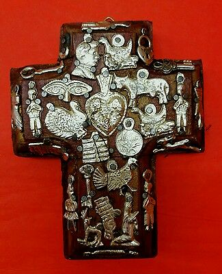 Authentic Mexican Folk Art Milagro Cross Exvotos Charms Religious Icon Rusty Red