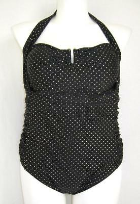 Pure Energy Size 20W Halter Tie 1 Piece Swimsuit w/Ruched Sides Black/Gold Dots
