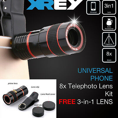 For iPhone Android Phone Clip-on 8x Zoom Optical Telescope Camera Lens Universal