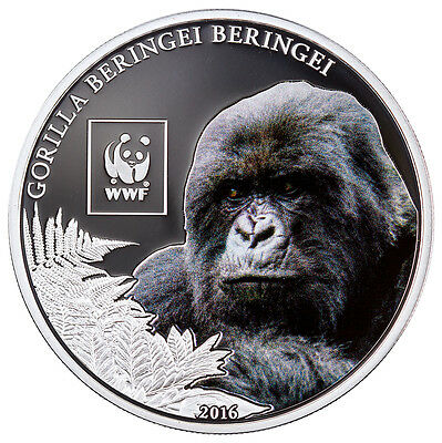 2016 Tanzania 100S Proof Silver-Plated WWF Mountain Gorilla (Mint Cap) SKU43537