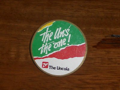1985 7-UP the Un's the one! pin pinback Union Made 65