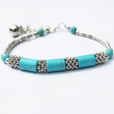 Infinity Chain Foot Precious Brand New Ankle Fake Turquoise Bracelet Gemstone