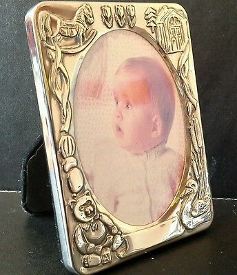 Baby Photo Frame Silver Colour Christening Birthday present gift